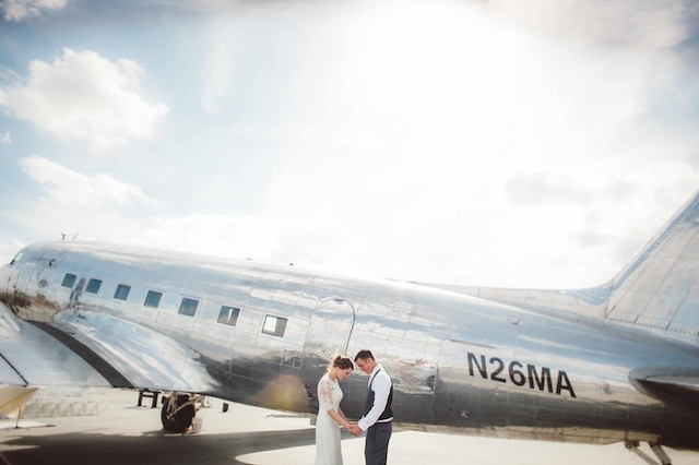 Retro airplane wedding