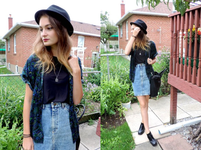 With flat ankle boots, hat and printed shirt