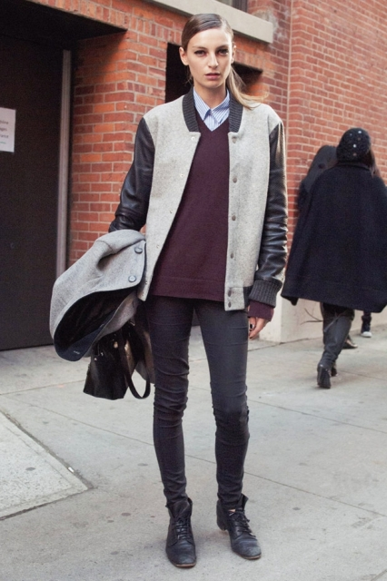 With button down shirt, marsala sweater, skinny pants, boots and bag