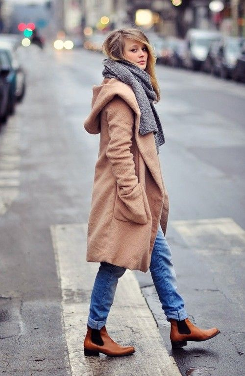 a knee camel coat, a grey scarf, blue jeans and cognac chelsea boots