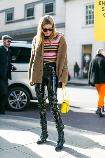With striped sweater, short coat, boots and yellow bag