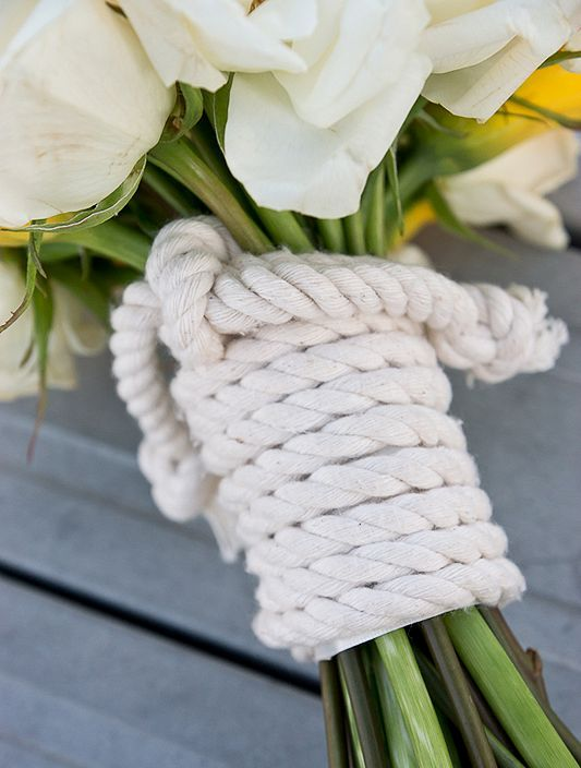 thick rope will be a creative choice for a nautical or coastal bride
