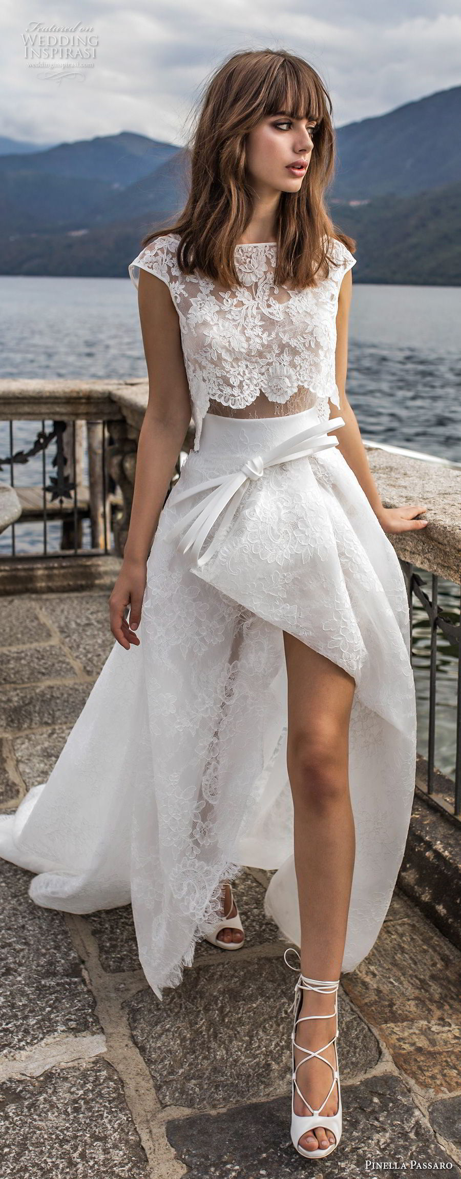 pinella passaro 2018 bridal cap sleeves bateau neck heavily embellished bodice crop top romantic high low a line wedding dress chapel train (5) mv