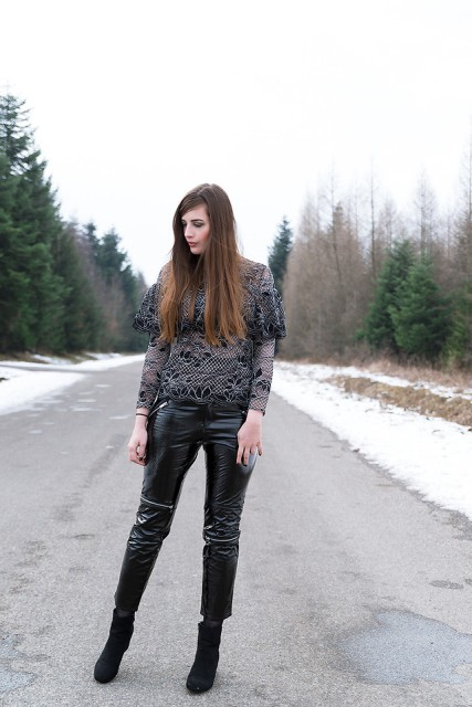 With suede ankle boots and shirt