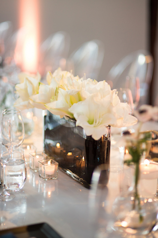 Modern black and white floral centerpiece