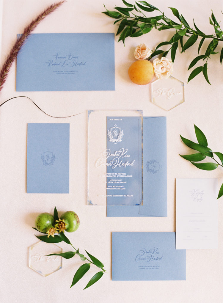 The wedding stationery was done in blue and acryl for a chic and modern look