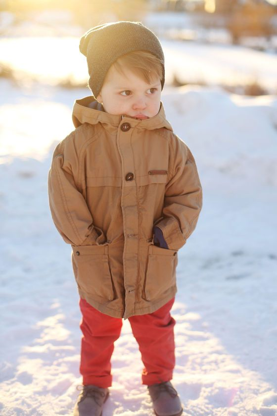 a mustard parka for a toddler boy, bold red pants