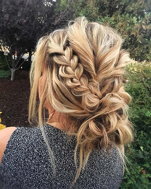 Braid and Messy Bun for Beautiful Braided Updos