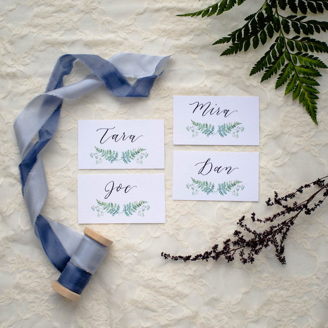 Greenery placecards
