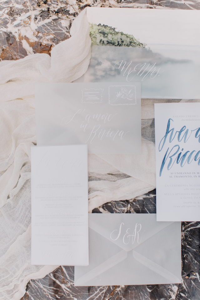 Watercolor and white wedding invitations
