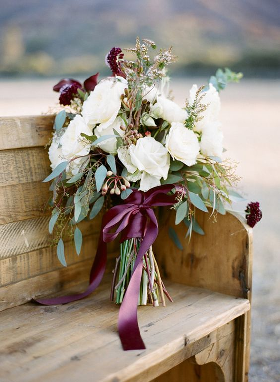 burgundy ribbon is a great accent for a fall wedding bouquet