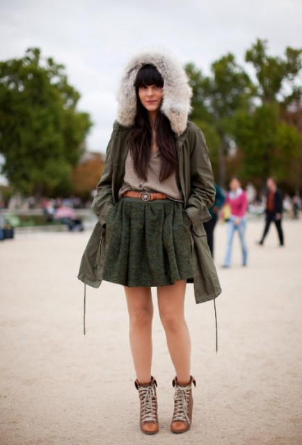 With loose shirt, skater skirt and ankle boots