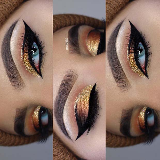 Gorgeous Gold Glitter Makeup for Makeup Ideas for Thanksgiving Dinner
