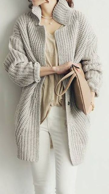 cozy layers with white jeans, a neutral tee and a grey chunky knit cardigan