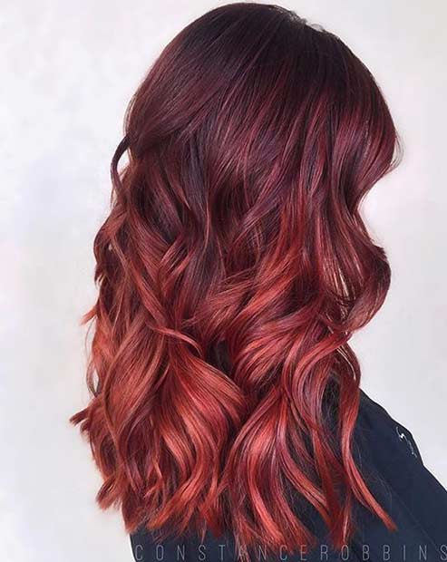 Burgundy to Bright Red Ombre Hair