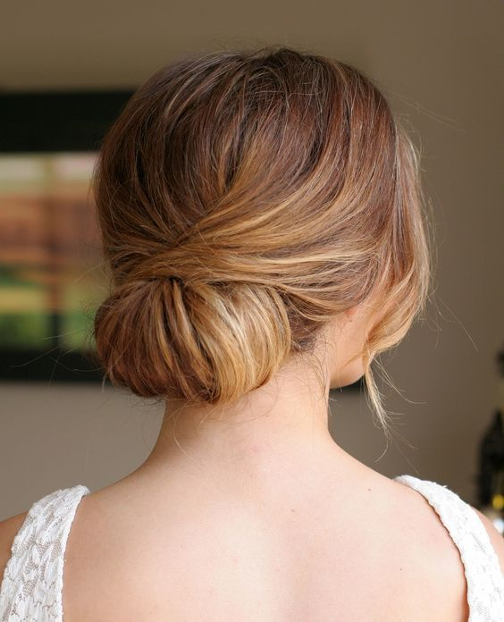low twisted chignon looks cute and elegant and is very easy to recreate