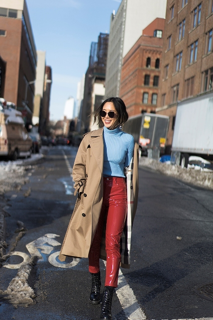 With light blue turtleneck, mid calf boots and camel coat