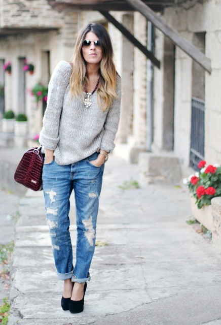 With light gray sweater, platform shoes and marsala bag