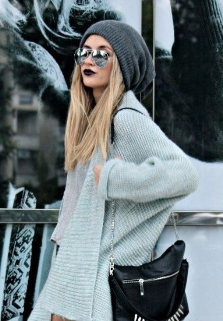 a grey slouchy beanie for a chic and relaxed look this winter