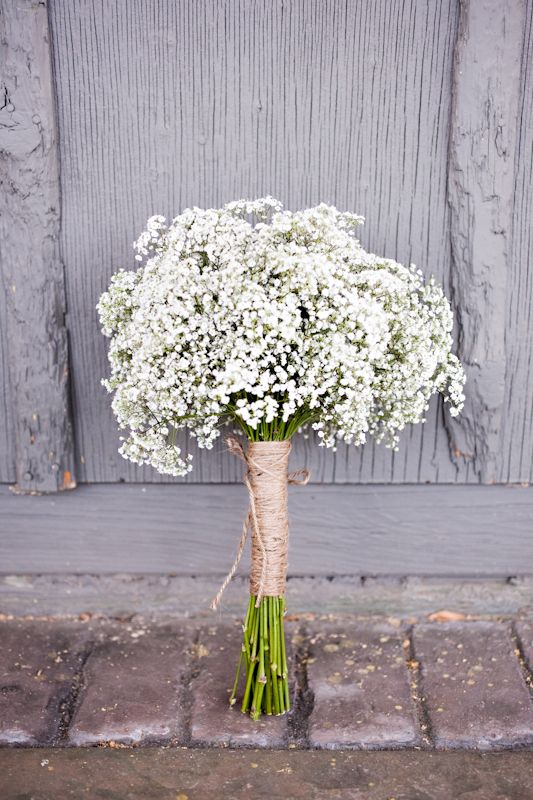 twine and a baby's breath bouquet make up a cool rustic combo
