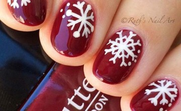 40d1d  Dark Red Nails With White Snowflakes.jpg