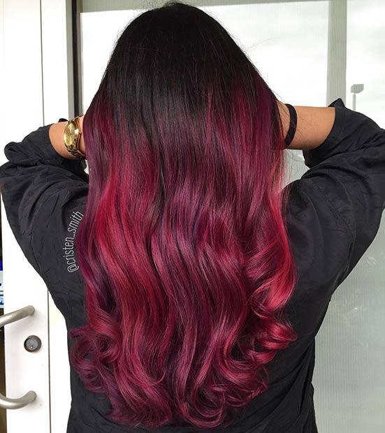 Black to Dark Red Ombre Hair
