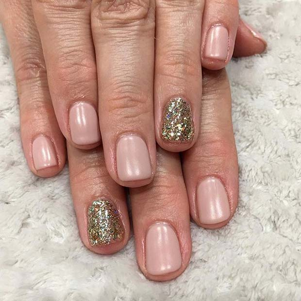 Pink Manicure with Gold Glitter Accent Nail for Glitter Nail Design Idea