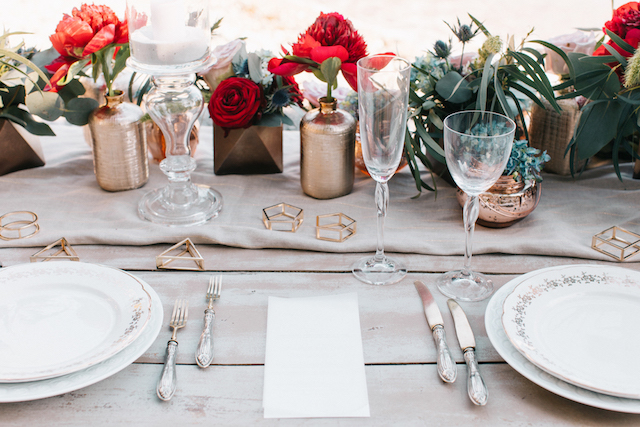 Red and neutral tablescape