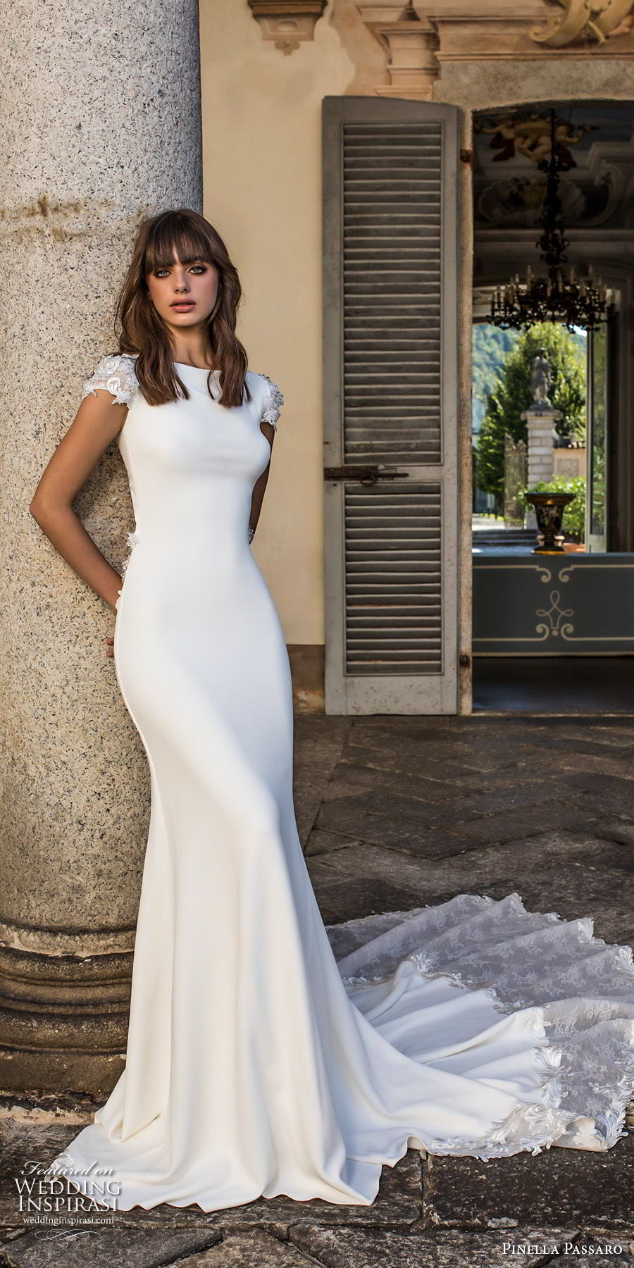 pinella passaro 2018 bridal cap sleeves bateau neck simple clean elegant classy fit and flare sheath wedding dress keyhole back chapel train (12) mv