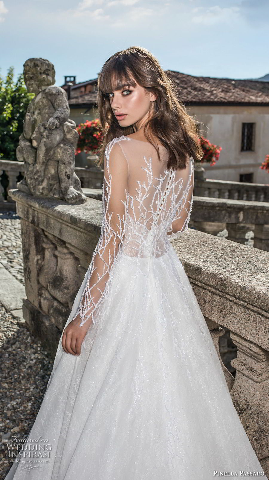 pinella passaro 2018 bridal long sleeves illusion bateau straight across neckline heavily embellished bodice romantic a line wedding dress covered embellished back sweep train (11) zbv