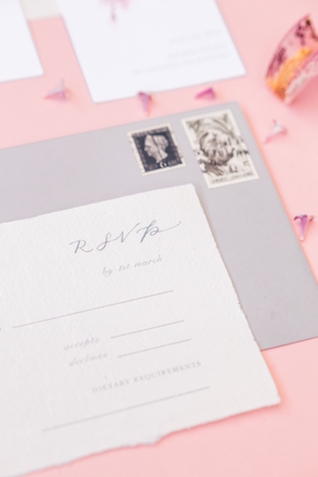 Gray and pink wedding invitations