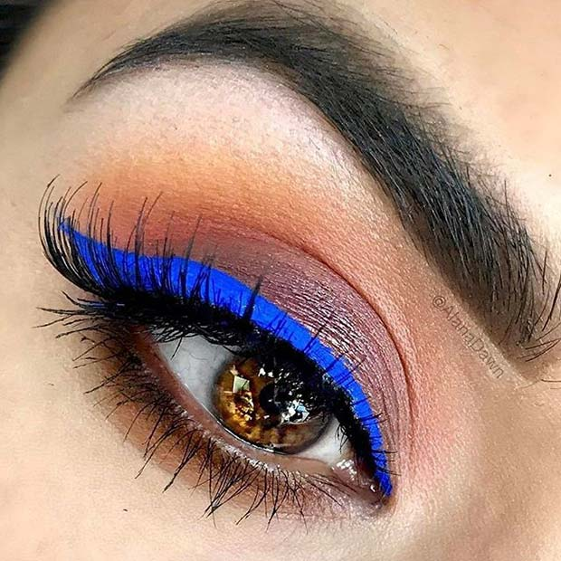 Bold Blue Liner for Fall Makeup Looks