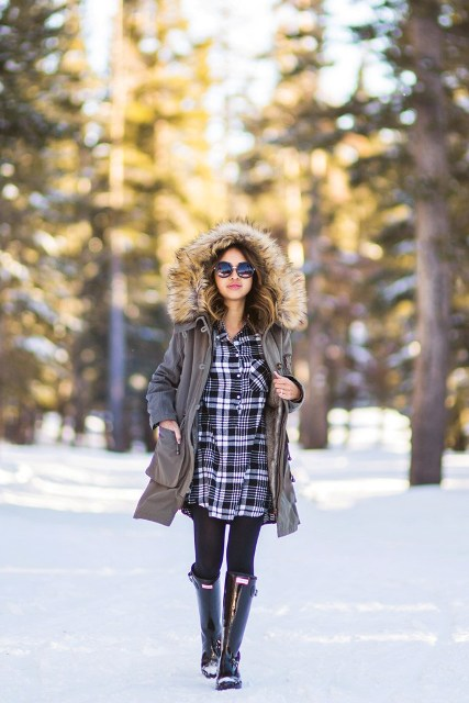 With plaid dress, black tights and high boots