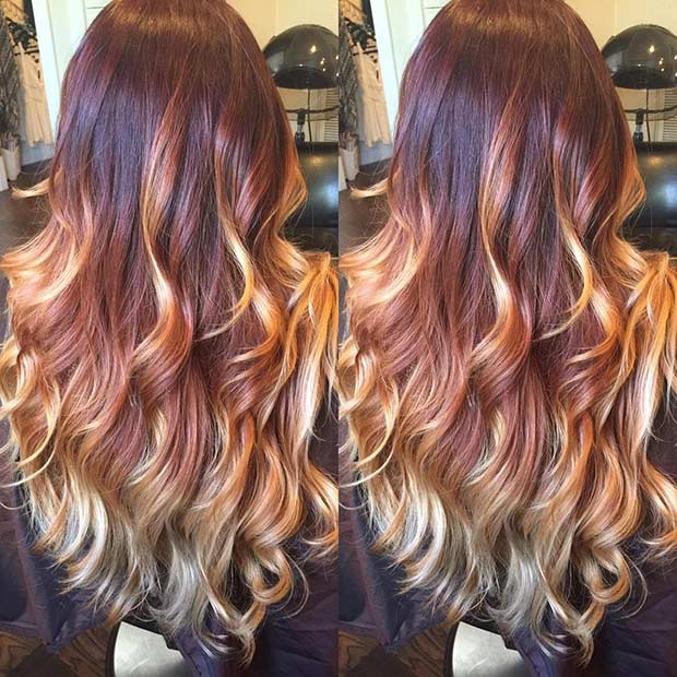 Auburn Red to Golden Blonde Balayage Ombre Hair