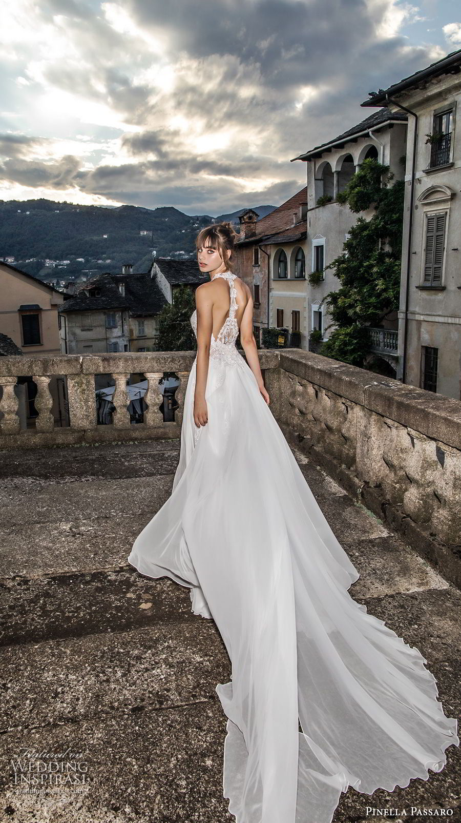 pinella passaro 2018 bridal sleeveless halter neck sweetheart neckline heavily embellished bodice side slit romantic soft a line wedding dress rasor back chapel train (10) bv