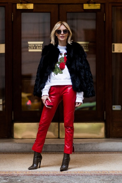 With printed sweater, fur coat and ankle boots