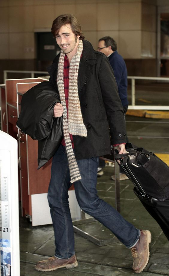 navy jeans, a red sweater, a scarf, a black coat and brown boots by Lee Pace