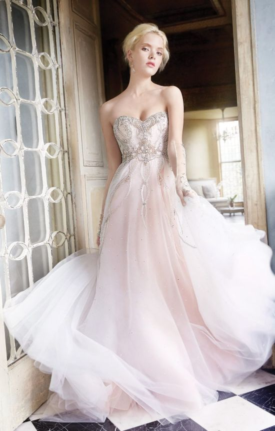 strapless pink ombre wedding dress with a sparkly embroidered bodice and skirt