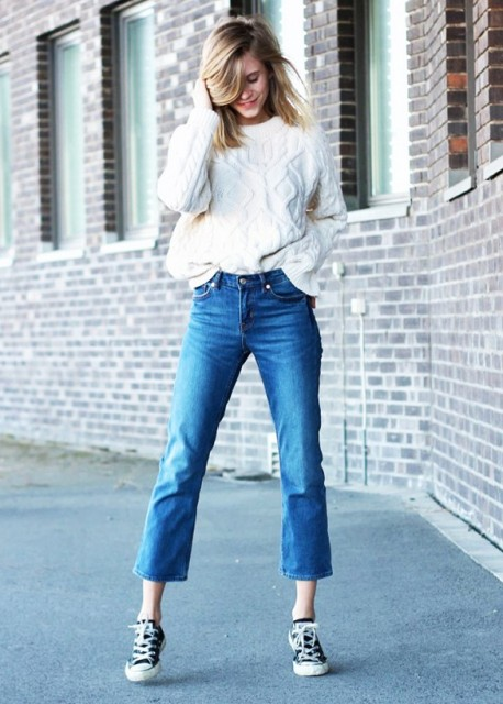 With white sweater and two color sneakers