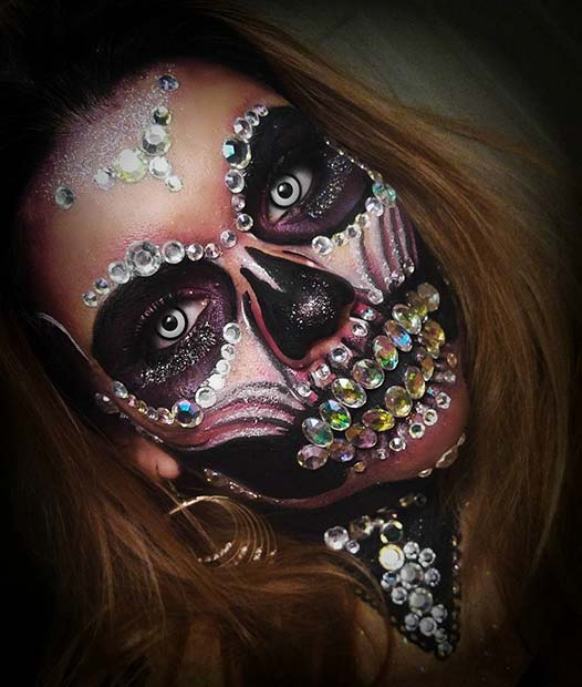 Glam Skeleton for Skeleton Makeup Ideas for Halloween