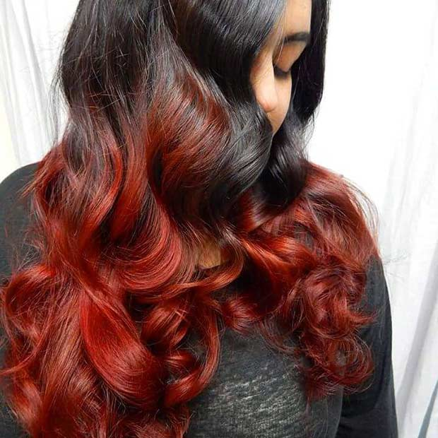 Black to Red Ombre Balayage Hair