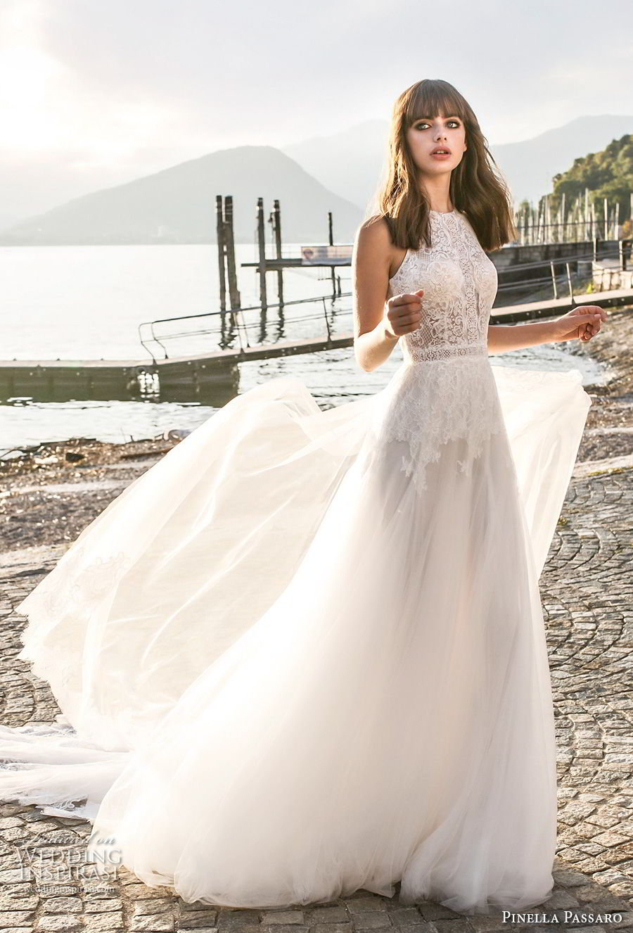 pinella passaro 2018 bridal sleevless halter neck heavily embellished bodice romantic a line wedding dress open slit back royal train (18) mv