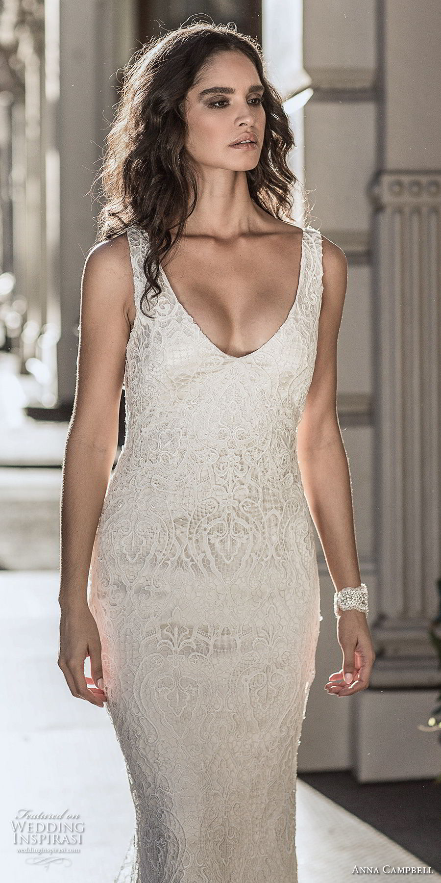 anna cambell fall 2018 bridal sleeveless v neck full embellishment elegant sheath wedding dress open v back sweep train (5) zv