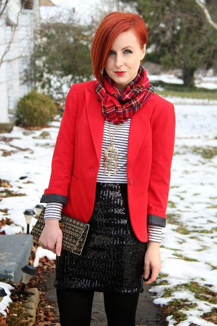 a black sequin mini, black tights, a striped top, a red jacket and a plaid scarf