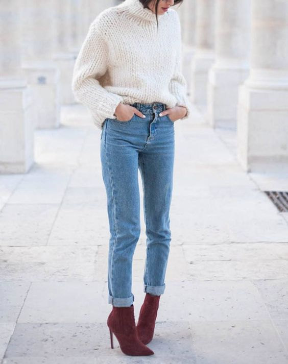 blue denim, a white chunky knit sweater and fuchsia suede sock boots