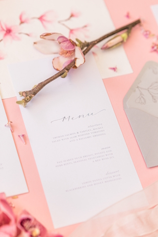 Gray and pink wedding stationery