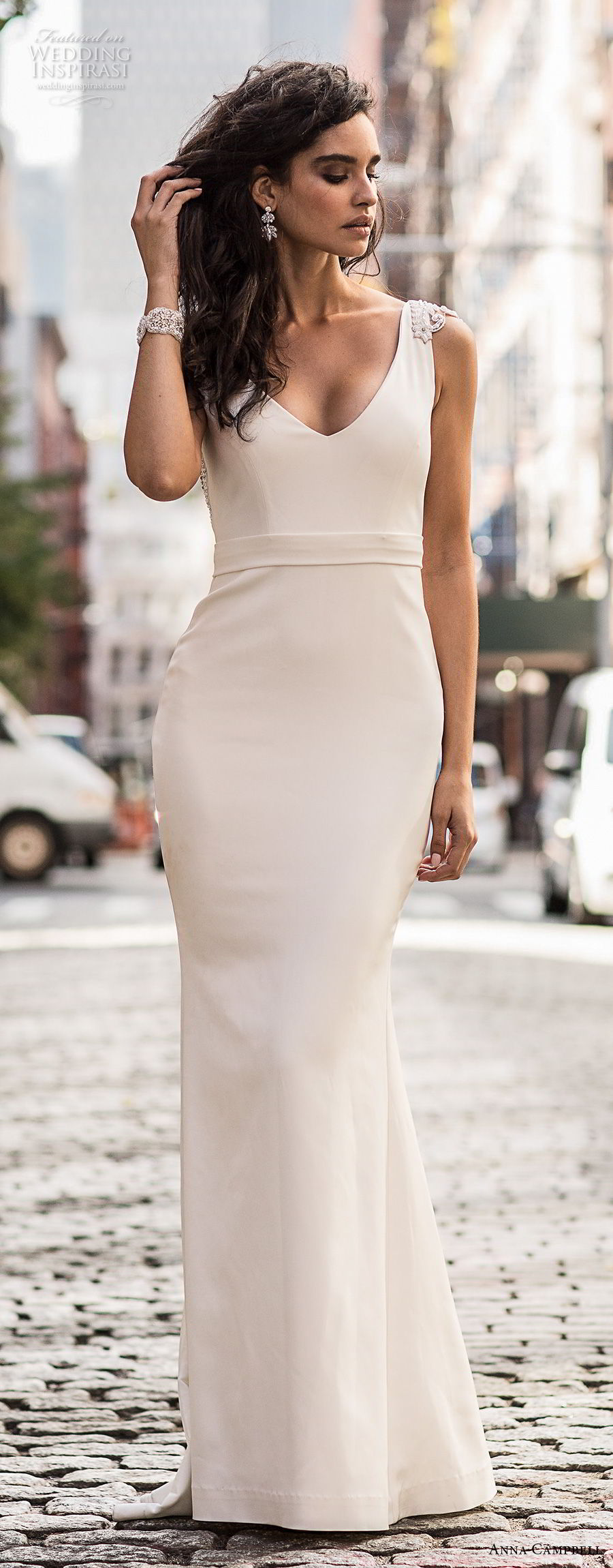 anna cambell fall 2018 bridal cap sleeves v neck simple clean elegant sheath wedding dress open v back sweep train (2) mv