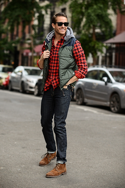 With plaid button down shirt, puffer vest and suede boots