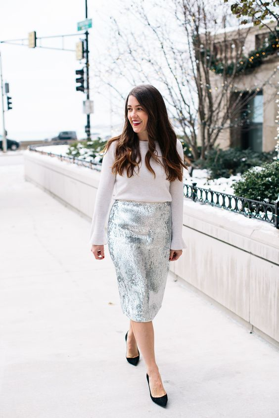 a white sweater, a silver sequin pencil skirt and black suede shoes