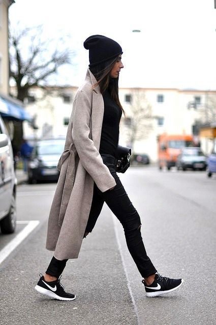 a light grey coat and a black lseek beanie is a perfect combo